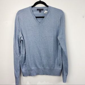Banana Republic blue v neck cashmere/ silk sweater